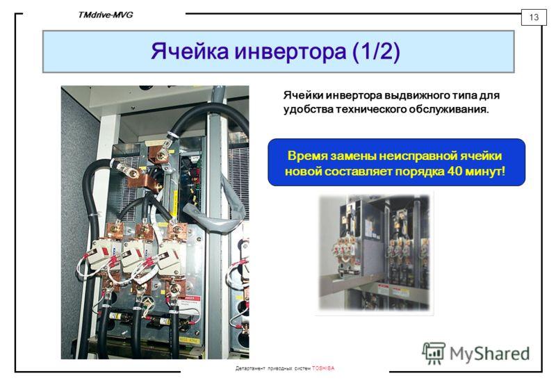 Департамент приводных систем TOSHIBA 13 TMdrive-MVG Ячейка инвертора (1/2) Ячейки инвертора выдвижного типа для удобства технического обслуживания. Время замены неисправной ячейки новой составляет порядка 40 минут!