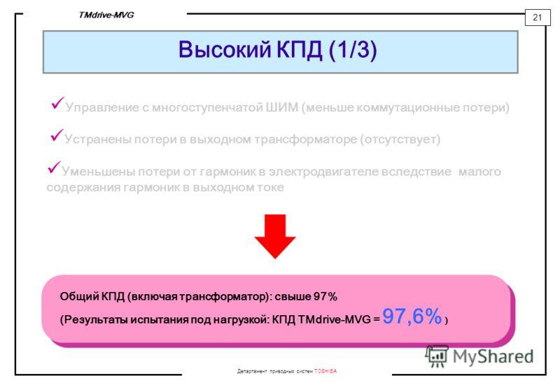 Департамент приводных систем TOSHIBA 21 TMdrive-MVG Высокий КПД (1/3) Управление с многоступенчатой ШИМ (меньше коммутационные потери) Общий КПД (включая трансформатор): свыше 97% (Результаты испытания под нагрузкой: КПД TMdrive-MVG = 97,6% ) Устране