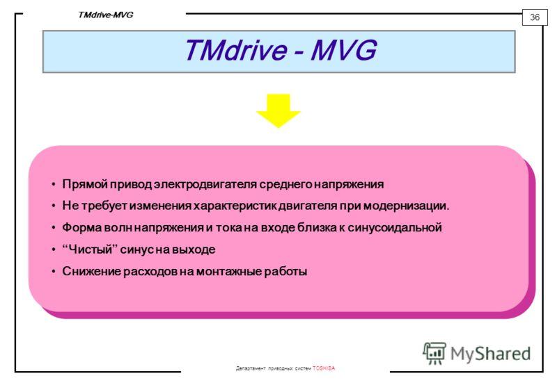 Департамент приводных систем TOSHIBA 36 TMdrive-MVG TMdrive - MVG Прямой привод электродвигателя среднего напряжения Не требует изменения характеристик двигателя при модернизации. Форма волн напряжения и тока на входе близка к синусоидальной Чистый с