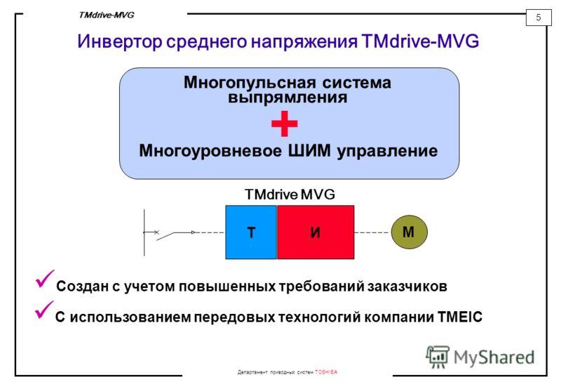 Департамент приводных систем TOSHIBA 5 TMdrive-MVG Инвертор среднего напряжения TMdrive-MVG Многопульсная система выпрямления Многоуровневое ШИМ управление + М ТИ TMdrive MVG Создан с учетом повышенных требований заказчиков С использованием передовых