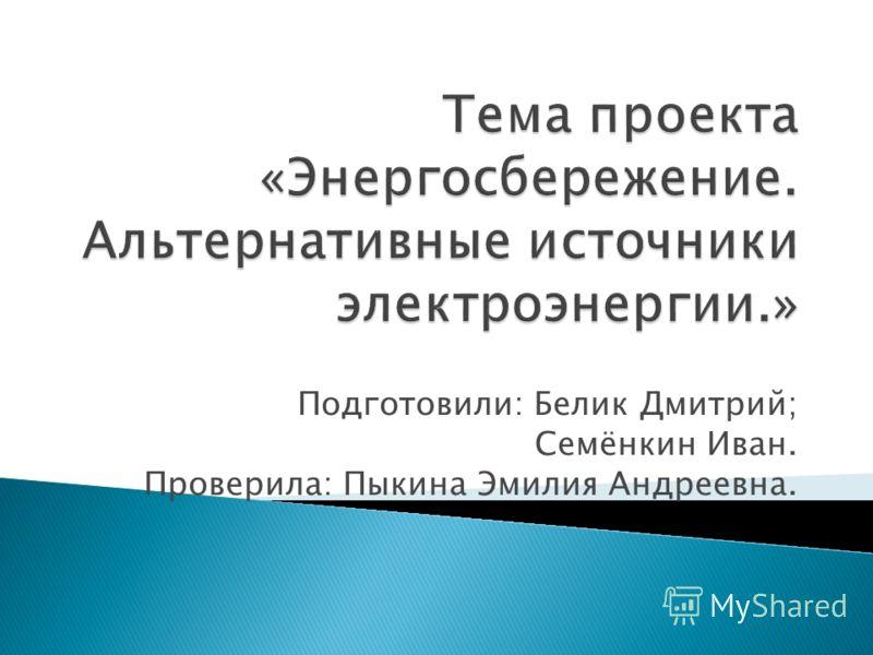 Подготовили: Белик Дмитрий; Семёнкин Иван. Проверила: Пыкина Эмилия Андреевна.