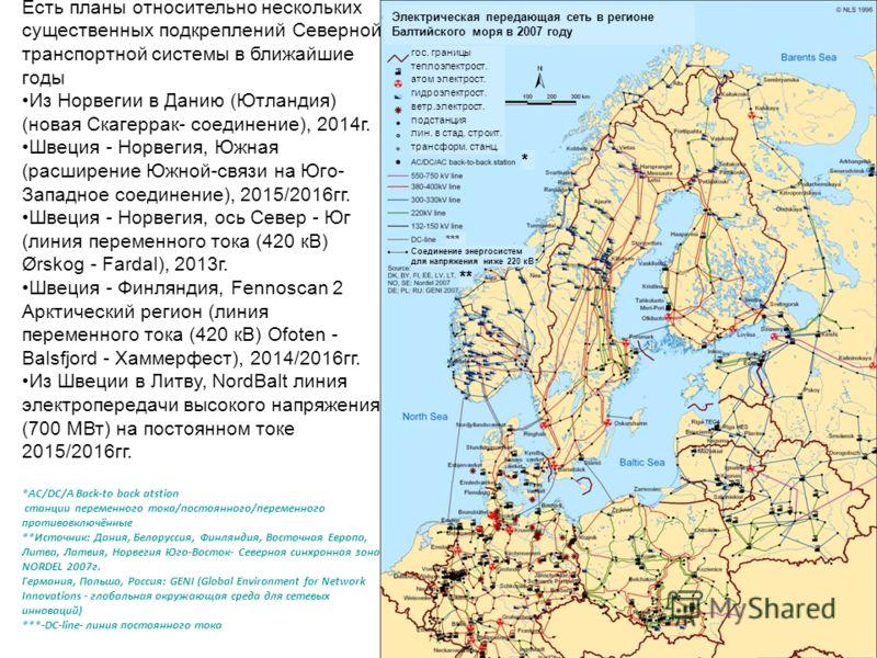 Есть планы относительно нескольких существенных подкреплений Северной транспортной системы в ближайшие годы Из Норвегии в Данию (Ютландия) (новая Скагеррак- соединение), 2014г. Швеция - Норвегия, Южная (расширение Южной-связи на Юго- Западное соедине