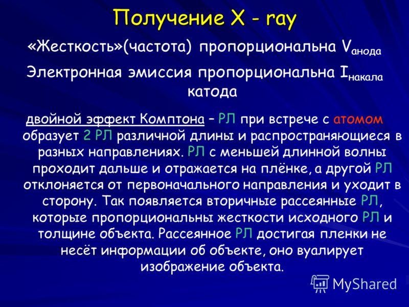 Получение X - ray «Жесткость»(частота) пропорциональна V aнода Электронная эмиссия пропорциональна I накала катода двойной эффект Комптона – РЛ при встрече с атомом образует 2 РЛ различной длины и распространяющиеся в разных направлениях. РЛ с меньше