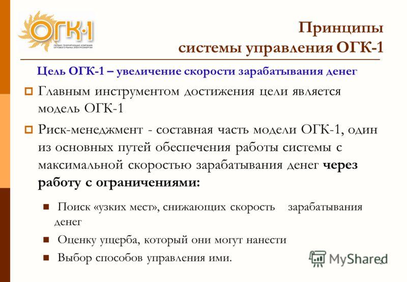 2 Принципы системы управления ОГК-1 Цель ОГК-1 – увеличение скорости зарабатывания денег Главным инструментом достижения цели является модель ОГК-1 Риск-менеджмент - составная часть модели ОГК-1, один из основных путей обеспечения работы системы с ма