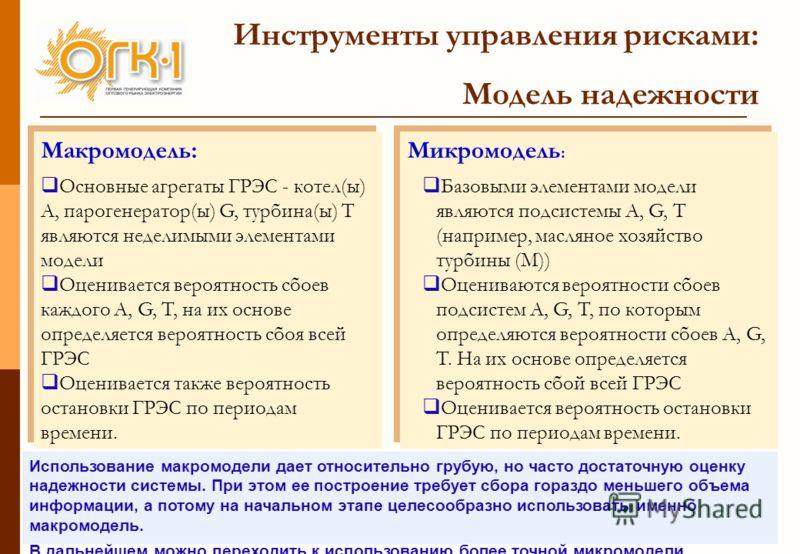 8 Инструменты управления рисками: Модель надежности Микромодель : Базовыми элементами модели являются подсистемы A, G, T (например, масляное хозяйство турбины (М)) Оцениваются вероятности сбоев подсистем A, G, T, по которым определяются вероятности с