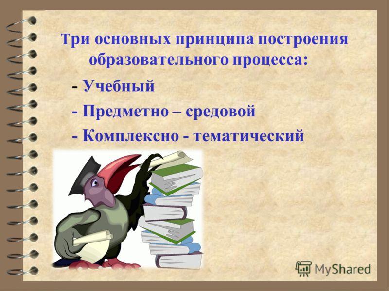 - Учебный - Предметно – средовой - Комплексно - тематический Т ри основных принципа построения образовательного процесса: