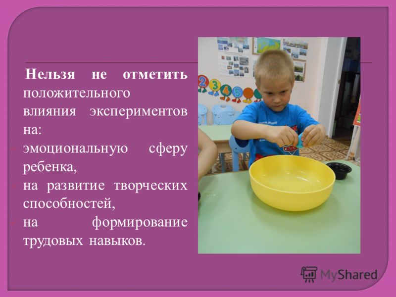 Нельзя не отметить положительного влияния экспериментов на: эмоциональную сферу ребенка, на развитие творческих способностей, на формирование трудовых навыков.