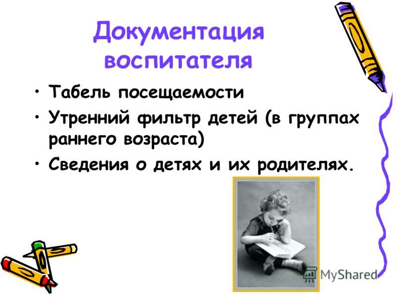 Документация воспитателя Табель посещаемости Утренний фильтр детей (в группах раннего возраста) Сведения о детях и их родителях.