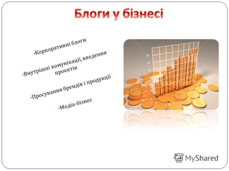 Корпоративні блоги Внутрішні комунікації, введення проектів Просування брендів і продукції Медіа - бізнес