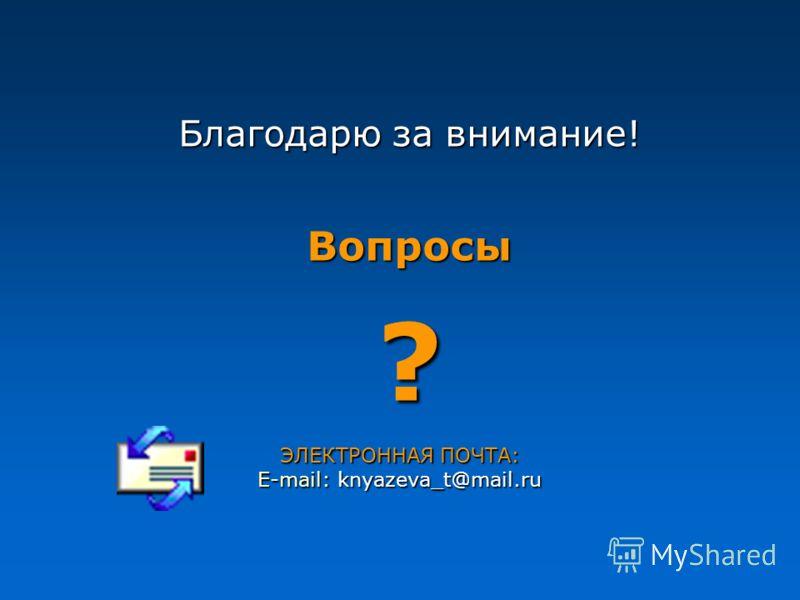 Благодарю за внимание! Вопросы? ЭЛЕКТРОННАЯ ПОЧТА: E-mail: knyazeva_t@mail.ru _