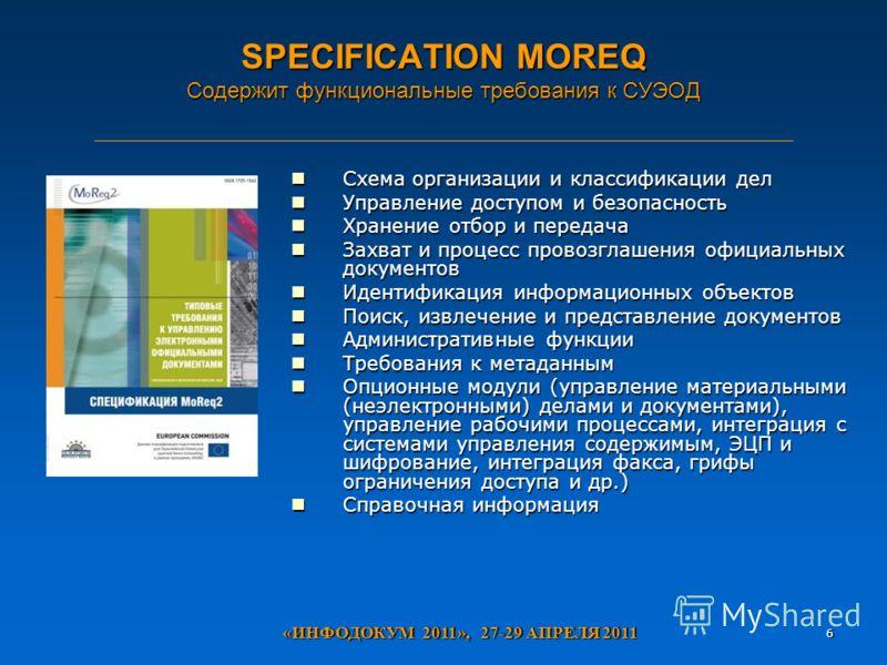 SPECIFICATION MOREQ Содержит функциональные требования к СУЭОД Схема организации и классификации дел Схема организации и классификации дел Управление доступом и безопасность Управление доступом и безопасность Хранение отбор и передача Хранение отбор