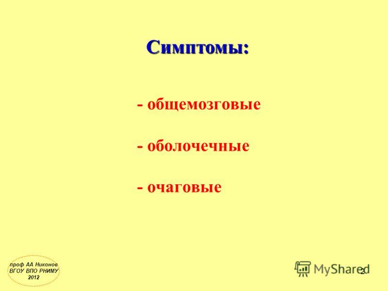 - общемозговые - оболочечные - очаговые Симптомы: 2 проф АА Никонов ВГОУ ВПО РНИМУ 2012