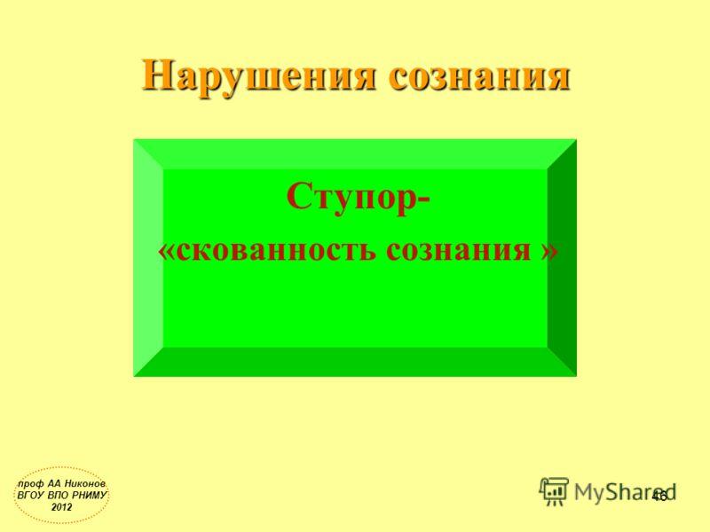 Нарушения сознания Ступор- «скованность сознания » проф АА Никонов ВГОУ ВПО РНИМУ 2012 46