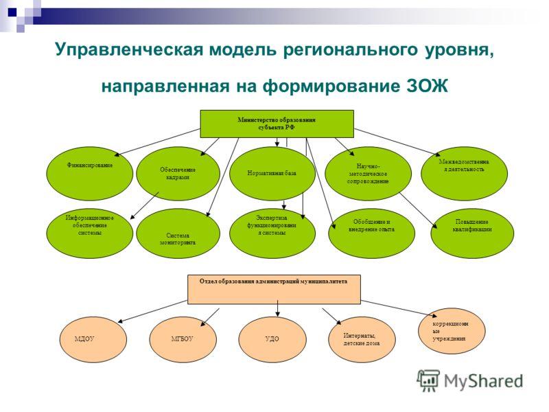 Управленческая модель регионального уровня, направленная на формирование ЗОЖ Министерство образования субъекта РФ Финансирование Обеспечение кадрами Информационное обеспечение системы Нормативная база Экспертиза функционировани я системы Научно- мето