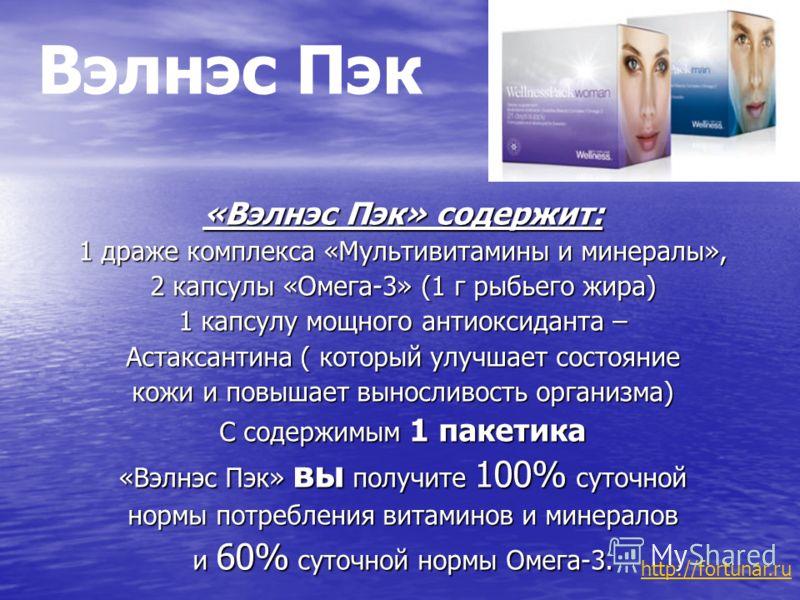 Вэлнэс Пэк «Вэлнэс Пэк» содержит: 1 драже комплекса «Мультивитамины и минералы», 2 капсулы «Омега-3» (1 г рыбьего жира) 1 капсулу мощного антиоксиданта – Астаксантина ( который улучшает состояние кожи и повышает выносливость организма) С содержимым 1
