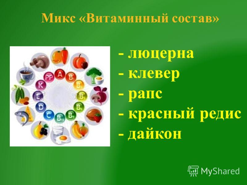 Микс «Витаминный состав» - люцерна - клевер - рапс - красный редис - дайкон