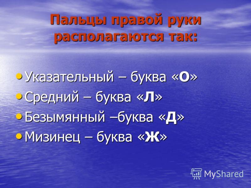 Пальцы левой руки располагаются так: Мизинец – буква «Ф» Мизинец – буква «Ф» Безымянный –буква «Ы» Безымянный –буква «Ы» Средний – буква «В» Средний – буква «В» Указательный – буква «А» Указательный – буква «А»
