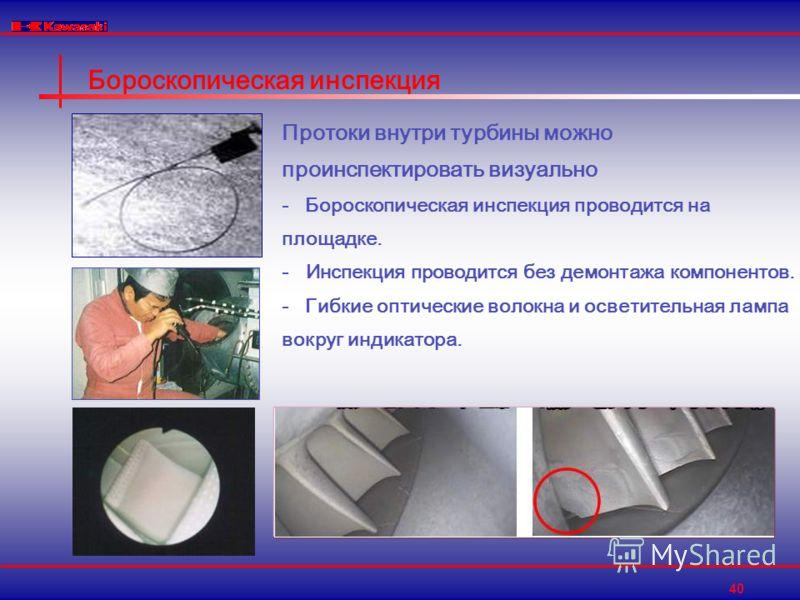 40 Бороскопическая инспекция Протоки внутри турбины можно проинспектировать визуально - Бороскопическая инспекция проводится на площадке. - Инспекция проводится без демонтажа компонентов. - Гибкие оптические волокна и осветительная лампа вокруг индик