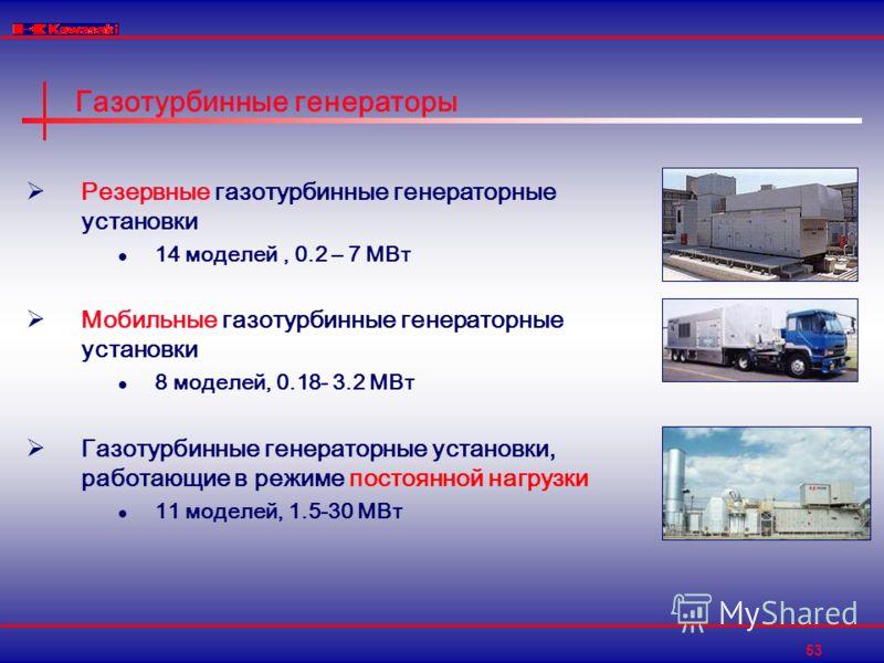 53 Газотурбинные генераторы Резервные газотурбинные генераторные установки 14 моделей, 0.2 – 7 МВт Мобильные газотурбинные генераторные установки 8 моделей, 0.18- 3.2 МВт Газотурбинные генераторные установки, работающие в режиме постоянной нагрузки 1