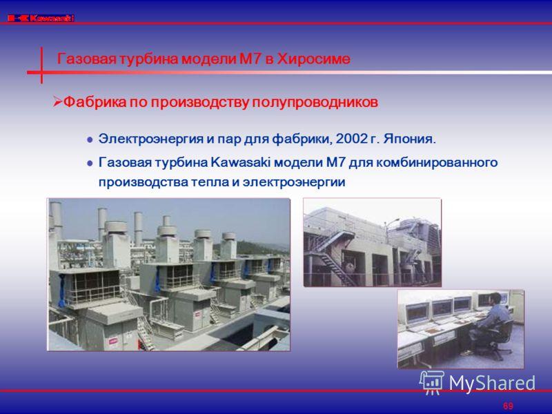 69 Газовая турбина модели M7 в Хиросиме Фабрика по производству полупроводников Электроэнергия и пар для фабрики, 2002 г. Япония. Газовая турбина Kawasaki модели M7 для комбинированного производства тепла и электроэнергии