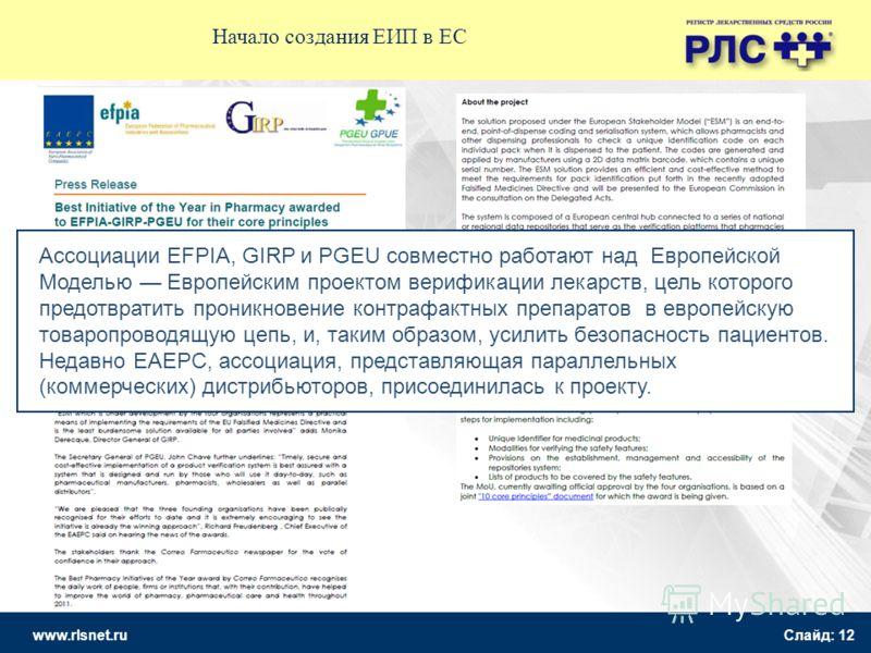 www.rlsnet.ru Слайд: 12 Начало создания ЕИП в ЕС Ассоциации EFPIA, GIRP и PGEU совместно работают над Европейской Моделью Европейским проектом верификации лекарств, цель которого предотвратить проникновение контрафактных препаратов в европейскую това