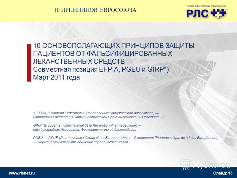 www.rlsnet.ru Слайд: 13 10 ОСНОВОПОЛАГАЮЩИХ ПРИНЦИПОВ ЗАЩИТЫ ПАЦИЕНТОВ ОТ ФАЛЬСИФИЦИРОВАННЫХ ЛЕКАРСТВЕННЫХ СРЕДСТВ Совместная позиция EFPIA, PGEU и GIRP*) Март 2011 года *) EFPIA (European Federation of Pharmaceutical Industries and Associations) Евр