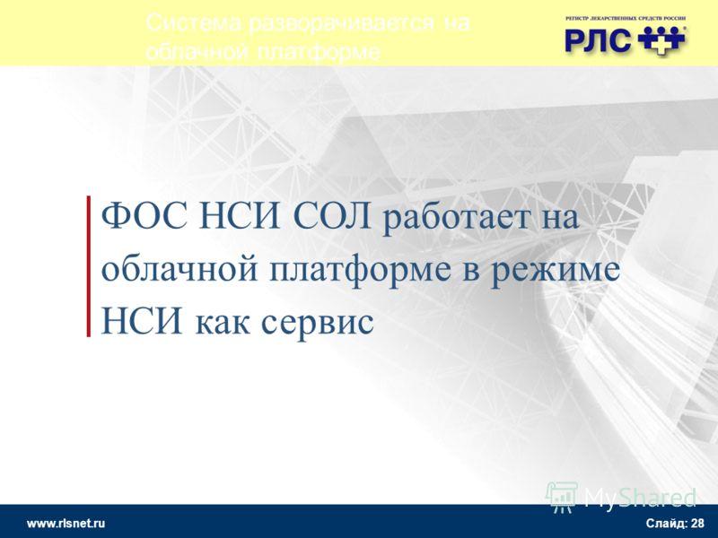 www.rlsnet.ru Слайд: 28 ФОС НСИ СОЛ работает на облачной платформе в режиме НСИ как сервис Система разворачивается на облачной платформе