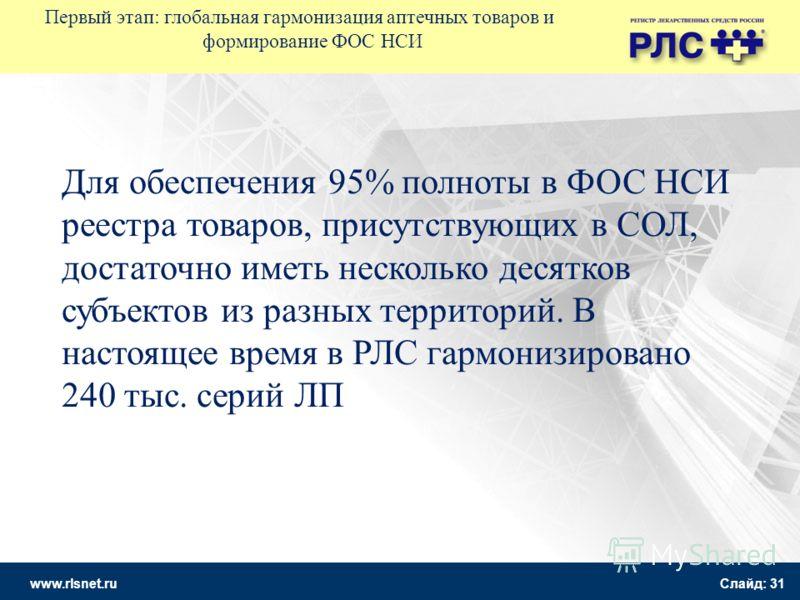 www.rlsnet.ru Слайд: 31 Первый этап: глобальная гармонизация аптечных товаров и формирование ФОС НСИ Для обеспечения 95% полноты в ФОС НСИ реестра товаров, присутствующих в СОЛ, достаточно иметь несколько десятков субъектов из разных территорий. В на