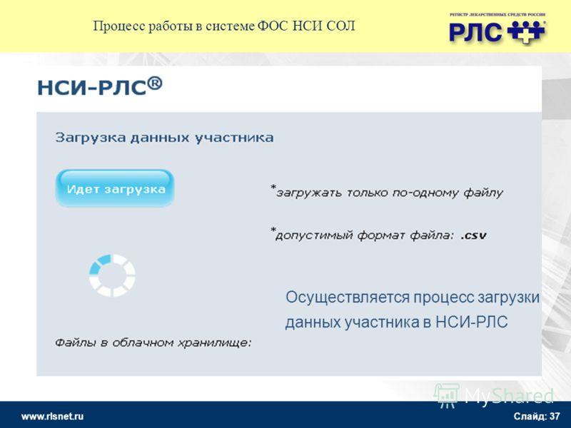 www.rlsnet.ru Слайд: 37 Осуществляется процесс загрузки данных участника в НСИ-РЛС Процесс работы в системе ФОС НСИ СОЛ