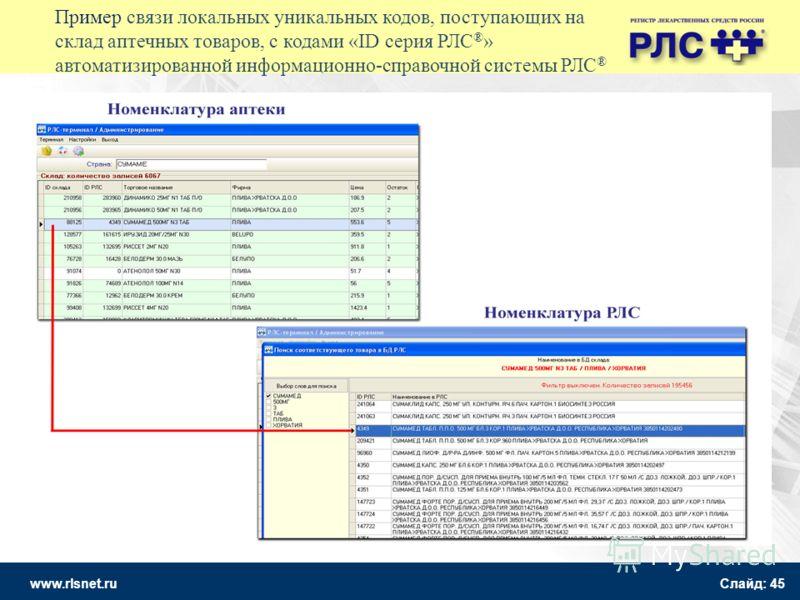 www.rlsnet.ru Слайд: 45 Пример связи локальных уникальных кодов, поступающих на склад аптечных товаров, с кодами «ID серия РЛС ® » автоматизированной информационно-справочной системы РЛС ®