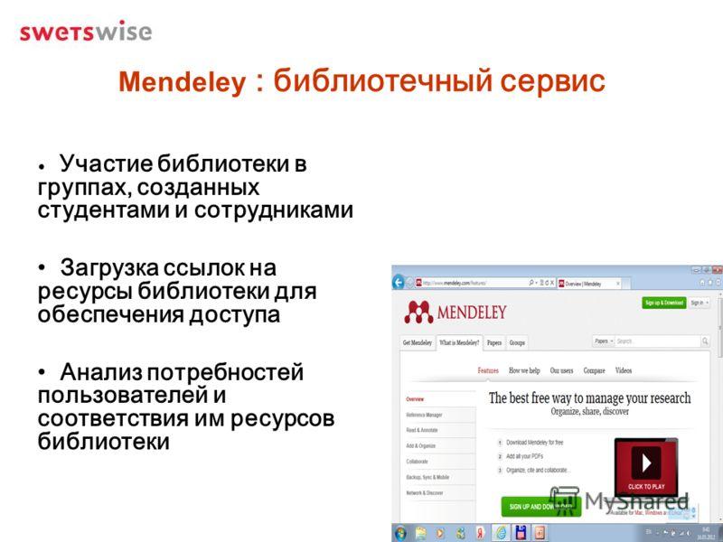 Mendeley : библиотечный сервис Участие библиотеки в группах, созданных студентами и сотрудниками Загрузка ссылок на ресурсы библиотеки для обеспечения доступа Анализ потребностей пользователей и соответствия им ресурсов библиотеки
