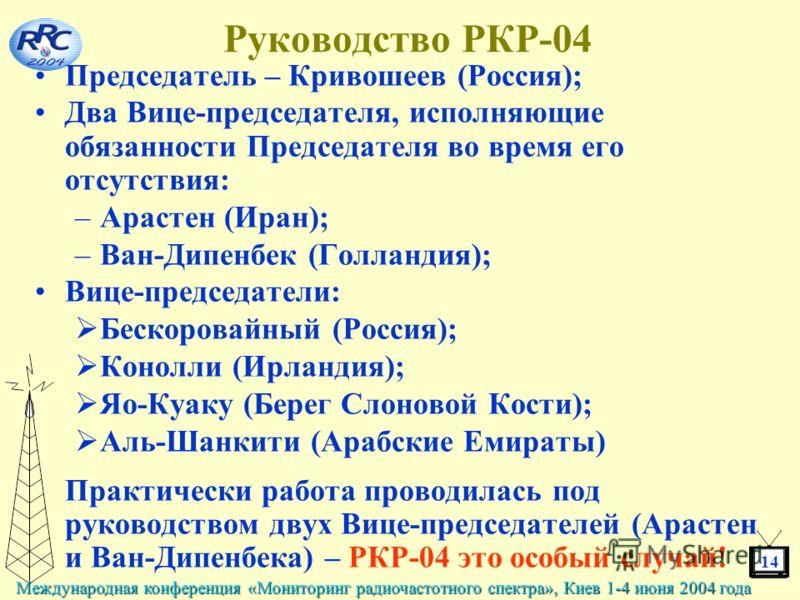 14 Международная конференция «Мониторинг радиочастотного спектра», Киев 1-4 июня 2004 года Руководство РКР-04 Председатель – Кривошеев (Россия); Два Вице-председателя, исполняющие обязанности Председателя во время его отсутствия: –Арастен (Иран); –Ва