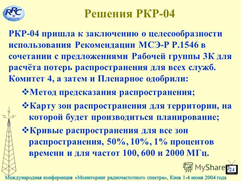 24 Международная конференция «Мониторинг радиочастотного спектра», Киев 1-4 июня 2004 года Решения РКР-04 РКР-04 пришла к заключению о целесообразности использования Рекомендации МСЭ-Р Р.1546 в сочетании с предложениями Рабочей группы 3К для расчёта
