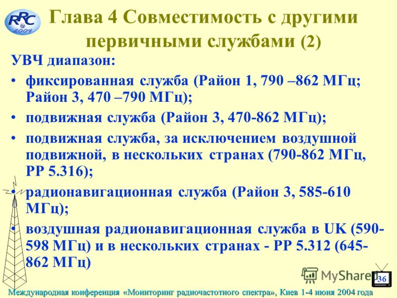 36 Международная конференция «Мониторинг радиочастотного спектра», Киев 1-4 июня 2004 года Глава 4 Совместимость с другими первичными службами (2) УВЧ диапазон: фиксированная служба (Район 1, 790 –862 МГц; Район 3, 470 –790 МГц); подвижная служба (Ра