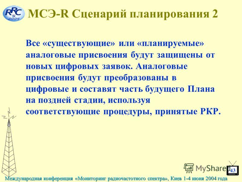 43 Международная конференция «Мониторинг радиочастотного спектра», Киев 1-4 июня 2004 года МСЭ-R Сценарий планирования 2 Все «существующие» или «планируемые» аналоговые присвоения будут защищены от новых цифровых заявок. Аналоговые присвоения будут п