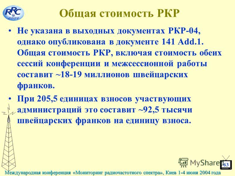 63 Международная конференция «Мониторинг радиочастотного спектра», Киев 1-4 июня 2004 года Общая стоимость РКР Не указана в выходных документах РКР-04, однако опубликована в документе 141 Add.1. Общая стоимость РКР, включая стоимость обеих сессий кон