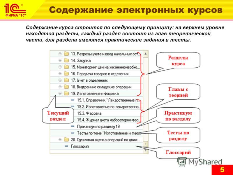 Содержание электронных курсов Содержание курса строится по следующему принципу: на верхнем уровне находятся разделы, каждый раздел состоит из глав теоретической части, для раздела имеются практические задания и тесты. 5