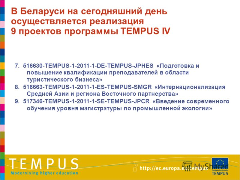 7. 516630-TEMPUS-1-2011-1-DE-TEMPUS-JPHES «Подготовка и повышение квалификации преподавателей в области туристического бизнеса» 8. 516663-TEMPUS-1-2011-1-ES-TEMPUS-SMGR «Интернационализация Средней Азии и региона Восточного партнерства» 9. 517346-TEM