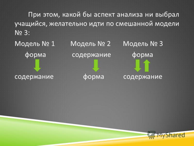 При этом, какой бы аспект анализа ни выбрал учащийся, желательно идти по смешанной модели 3: Модель 1 Модель 2 Модель 3 форма содержание форма содержание форма содержание