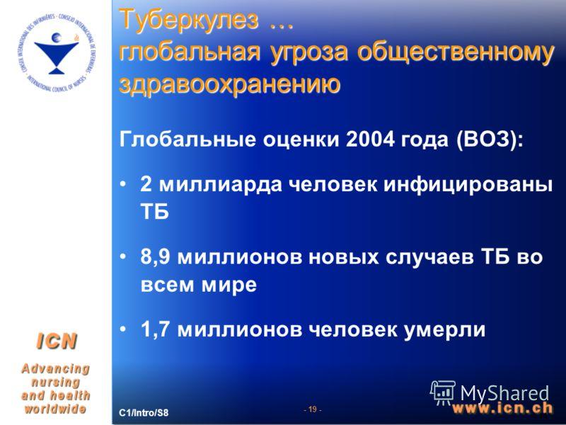 - 19 - Туберкулез … глобальная угроза общественному здравоохранению - 14 - Глобальные оценки 2004 года (ВОЗ): 2 миллиарда человек инфицированы ТБ 8,9 миллионов новых случаев ТБ во всем мире 1,7 миллионов человек умерли C1/Intro/S8