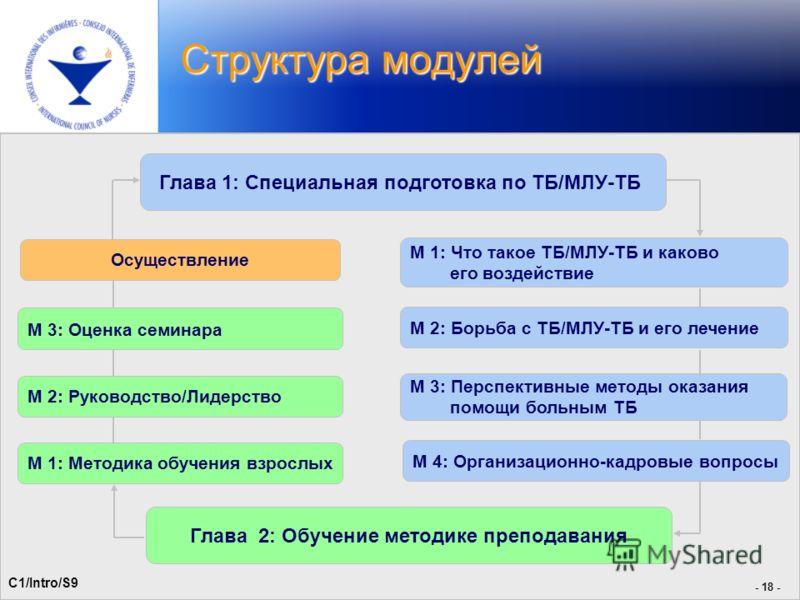 - 21 - Структура модулей - 18 - Глава 1: Специальная подготовка по ТБ/МЛУ-ТБ M 1: Что такое ТБ/МЛУ-ТБ и каково его воздействие Глава 2: Обучение методике преподавания M 2: Борьба с ТБ/МЛУ-ТБ и его лечение M 3: Перспективные методы оказания помощи бол
