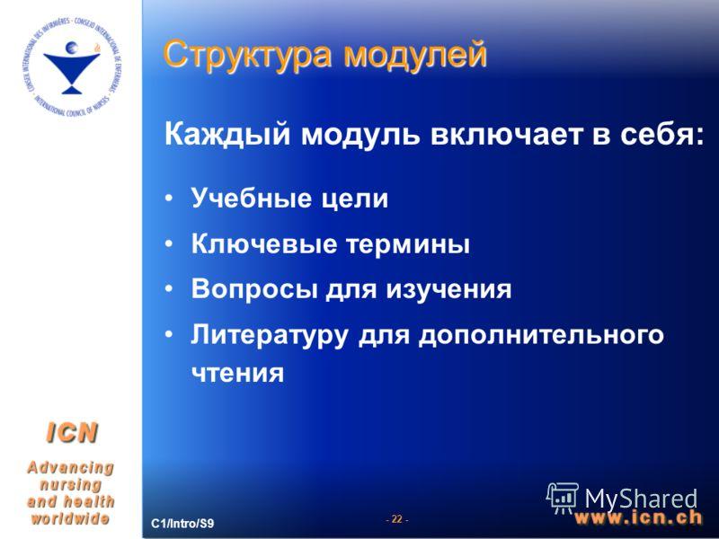 - 22 - Структура модулей - 15 - Каждый модуль включает в себя: Учебные цели Ключевые термины Вопросы для изучения Литературу для дополнительного чтения C1/Intro/S9