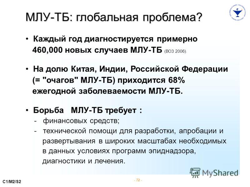 - 72 - C1/M2/S2 МЛУ-ТБ: глобальная проблема? Каждый год диагностируется примерно 460,000 новых случаев МЛУ-ТБ (ВОЗ 2006). На долю Китая, Индии, Российской Федерации (=