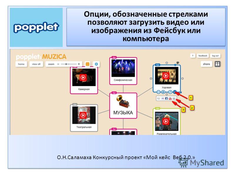 Опции, обозначенные стрелками позволяют загрузить видео или изображения из Фейсбук или компьютера О.Н.Саламаха Конкурсный проект «Мой кейс Веб 2.0.»