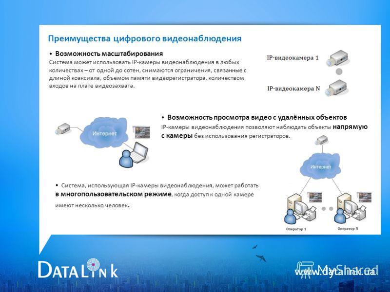 www.datalink.ua Преимущества цифрового видеонаблюдения Возможность масштабирования Система может использовать IP-камеры видеонаблюдения в любых количествах – от одной до сотен, снимаются ограничения, связанные с длиной коаксиала, объемом памяти видео