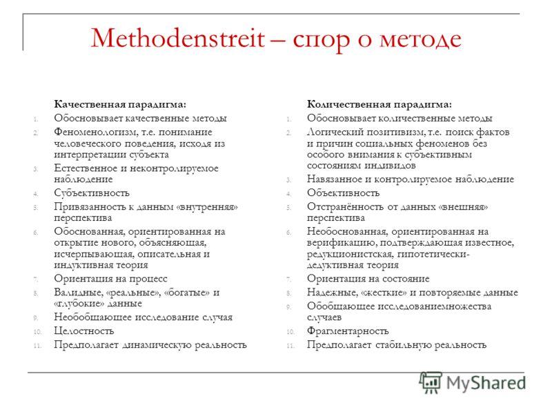 Methodenstreit – спор о методе Качественная парадигма: 1. Обосновывает качественные методы 2. Феноменологизм, т.е. понимание человеческого поведения, исходя из интерпретации субъекта 3. Естественное и неконтролируемое наблюдение 4. Субъективность 5.