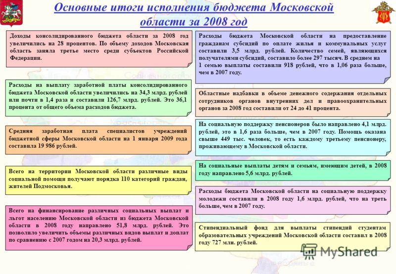 Основные итоги исполнения бюджета Московской области за 2008 год Доходы консолидированного бюджета области за 2008 год увеличились на 28 процентов. По объему доходов Московская область заняла третье место среди субъектов Российской Федерации. Расходы