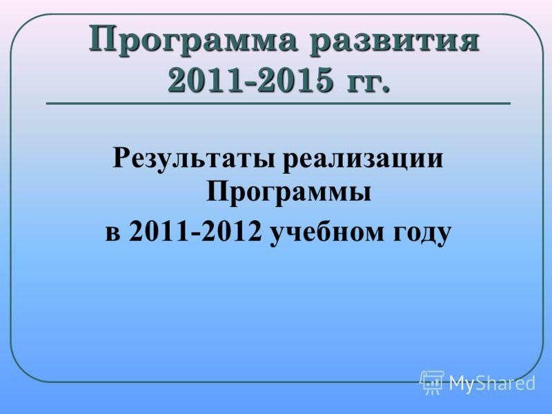 Программа развития 2011-2015 гг. Программа развития 2011-2015 гг. Результаты реализации Программы в 2011-2012 учебном году