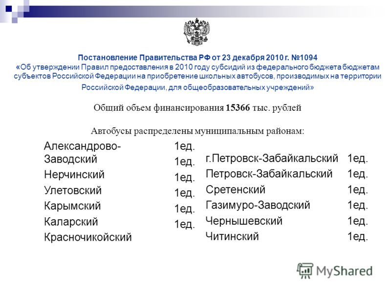 Постановление Правительства РФ от 23 декабря 2010 г. 1094 «Об утверждении Правил предоставления в 2010 году субсидий из федерального бюджета бюджетам субъектов Российской Федерации на приобретение школьных автобусов, производимых на территории Россий