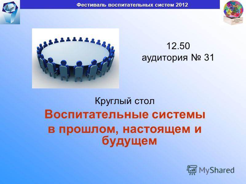 Круглый стол Воспитательные системы в прошлом, настоящем и будущем Фестиваль воспитательных систем 2012 12.50 аудитория 31